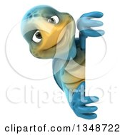 3d Happy Blue Tortoise Turtle Looking Around A Sign