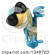 3d Happy Blue Tortoise Turtle Wearing Sunglasses And Pointing Around A Sign