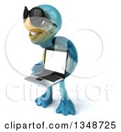 3d Happy Blue Tortoise Turtle Wearing Sunglasses Facing Left And Holding A Laptop Computer