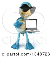 3d Happy Blue Tortoise Turtle Wearing Sunglasses Holding And Pointing To A Laptop Computer
