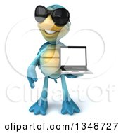 3d Happy Blue Tortoise Turtle Wearing Sunglasses And Holding A Laptop Computer