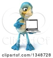 3d Happy Blue Tortoise Turtle Holding And Pointing To A Laptop Computer