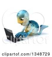 Clipart Of A 3d Happy Blue Tortoise Turtle Using A Laptop Computer On The Floor Royalty Free Illustration