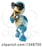 Clipart Of A 3d Happy Blue Tortoise Turtle Wearing Sunglasses Walking And Eating A Waffle Ice Cream Cone Royalty Free Illustration by Julos