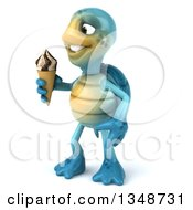 Clipart Of A 3d Happy Blue Tortoise Turtle Holding A Waffle Ice Cream Cone Royalty Free Illustration