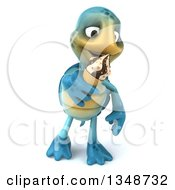 Clipart Of A 3d Happy Blue Tortoise Turtle Walking And Eating A Waffle Ice Cream Cone Royalty Free Illustration