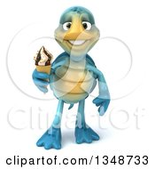 3d Happy Blue Tortoise Turtle Holding A Waffle Ice Cream Cone