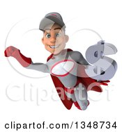 Clipart Of A 3d Young White Male Super Hero Mechanic In Gray And Red Holding A Dollar Currency Symbol And Flying Royalty Free Illustration