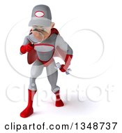 Clipart Of A 3d Young White Male Super Hero Mechanic In Gray And Red Looking Down And Searching With A Magnifying Glass Royalty Free Illustration