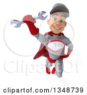 Clipart Of A 3d Young White Male Super Hero Mechanic In Gray And Red Holding A Wrench And Flying Royalty Free Illustration