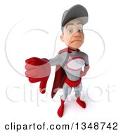 Clipart Of A 3d Young White Male Super Hero Mechanic In Gray And Red Holding Up A Thumb Down Royalty Free Illustration
