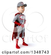Clipart Of A 3d Young White Male Super Hero Mechanic In Gray And Red Holding A Wrench And Facing Right Royalty Free Illustration