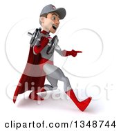 Clipart Of A 3d Young White Male Super Hero Mechanic In Gray And Red Working Out Walking To The Right And Pointing To A Dumbbell Royalty Free Illustration