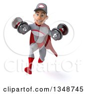 Clipart Of A 3d Young White Male Super Hero Mechanic In Gray And Red Working Out Sprinting With Dumbbells Royalty Free Illustration
