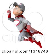 Clipart Of A 3d Young White Male Super Hero Mechanic In Gray And Red Flying And Searching With A Magnifying Glass Royalty Free Illustration