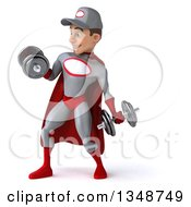 Clipart Of A 3d Young White Male Super Hero Mechanic In Gray And Red Working Out Doing Bicep Curls With Dumbbells Royalty Free Illustration