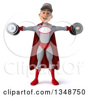 Clipart Of A 3d Young White Male Super Hero Mechanic In Gray And Red Working Out Doing Lateral Raises With Dumbbells Royalty Free Illustration