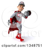 Clipart Of A 3d Young White Male Super Hero Mechanic In Gray And Red Walking To The Right Working Out Doing Bicep Curls With Dumbbells Royalty Free Illustration