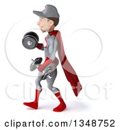 Clipart Of A 3d Young White Male Super Hero Mechanic In Gray And Red Walking To The Left Working Out Doing Bicep Curls With Dumbbells Royalty Free Illustration