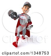 Clipart Of A 3d Young White Male Super Hero Mechanic In Gray And Red Walking Working Out Doing Bicep Curls With Dumbbells Royalty Free Illustration