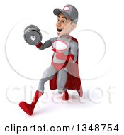 Clipart Of A 3d Young White Male Super Hero Mechanic In Gray And Red Working Out Walking To The Left And Pointing To A Dumbbell Royalty Free Illustration