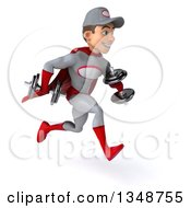 Clipart Of A 3d Young White Male Super Hero Mechanic In Gray And Red Working Out Sprinting To The Right With Dumbbells Royalty Free Illustration
