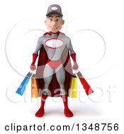 Clipart Of A 3d Young White Male Super Hero Mechanic In Gray And Red Carrying Shopping Bags Royalty Free Illustration