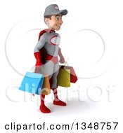 Clipart Of A 3d Young White Male Super Hero Mechanic In Gray And Red Facing Right And Carrying Shopping Bags Royalty Free Illustration