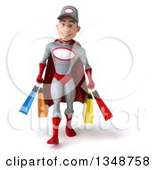 Clipart Of A 3d Young White Male Super Hero Mechanic In Gray And Red Walking And Carrying Shopping Bags Royalty Free Illustration