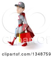 Clipart Of A 3d Young White Male Super Hero Mechanic In Gray And Red Walking To The Left And Carrying Shopping Bags Royalty Free Illustration