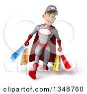 Clipart Of A 3d Young White Male Super Hero Mechanic In Gray And Red Speed Walking And Carrying Shopping Bags Royalty Free Illustration