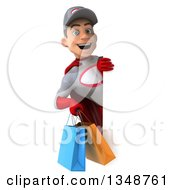 Clipart Of A 3d Young White Male Super Hero Mechanic In Gray And Red Holding Shopping Bags Around A Sign Royalty Free Illustration