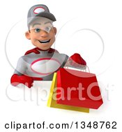Clipart Of A 3d Young White Male Super Hero Mechanic In Gray And Red Holding And Pointing To Shopping Bags Over A Sign Royalty Free Illustration