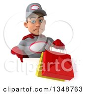 Clipart Of A 3d Young White Male Super Hero Mechanic In Gray And Red Giving A Thumb Down And Holding Shopping Bags Over A Sign Royalty Free Illustration