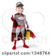 Clipart Of A 3d Young White Male Super Hero Mechanic In Gray And Red Giving A Thumb Up And Holding Shopping Bags Royalty Free Illustration