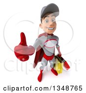 Clipart Of A 3d Young White Male Super Hero Mechanic In Gray And Red Holding Up A Thumb And Shopping Bags Royalty Free Illustration