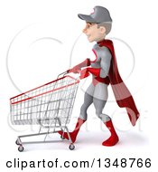 Clipart Of A 3d Young White Male Super Hero Mechanic In Gray And Red Walking To The Left With A Shopping Cart Royalty Free Illustration