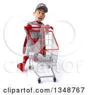 Clipart Of A 3d Young White Male Super Hero Mechanic In Gray And Red Speed Walking With A Shopping Cart Royalty Free Illustration