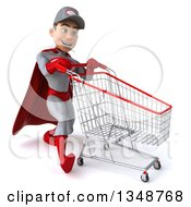 Clipart Of A 3d Young White Male Super Hero Mechanic In Gray And Red Speed Walking To The Right With A Shopping Cart Royalty Free Illustration