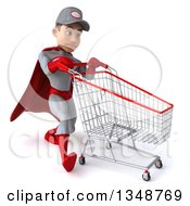 Clipart Of A 3d Young White Male Super Hero Mechanic In Gray And Red Struggling And Walking To The Right With A Shopping Cart Royalty Free Illustration
