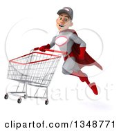 Clipart Of A 3d Young White Male Super Hero Mechanic In Gray And Red Flying With A Shopping Cart Royalty Free Illustration