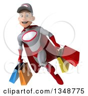 Clipart Of A 3d Young White Male Super Hero Mechanic In Gray And Red Flying With Shopping Bags Royalty Free Illustration