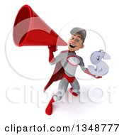 Clipart Of A 3d Young White Male Super Hero Mechanic In Gray And Red Holding A Dollar Currency Symbol And Using A Megaphone Royalty Free Illustration