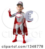 Clipart Of A 3d Young White Male Super Hero Mechanic In Gray And Red Holding Up A Finger And A Euro Currency Symbol Royalty Free Illustration