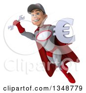 Clipart Of A 3d Young White Male Super Hero Mechanic In Gray And Red Holding A Euro Currency Symbol And Flying Royalty Free Illustration