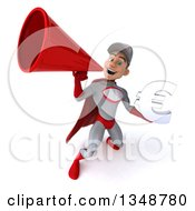 Clipart Of A 3d Young White Male Super Hero Mechanic In Gray And Red Holding A Euro Currency Symbol And Using A Megaphone Royalty Free Illustration