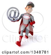 Clipart Of A 3d Young White Male Super Hero Mechanic In Gray And Red Holding An Email Arobase At Symbol And Speed Walking Royalty Free Illustration