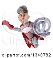 Clipart Of A 3d Young White Male Super Hero Mechanic In Gray And Red Holding An Email Arobase At Symbol And Flying Royalty Free Illustration