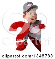 Clipart Of A 3d Young White Male Super Hero Mechanic In Gray And Red Holding A Question Mark Around A Sign Royalty Free Illustration