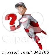 Clipart Of A 3d Young White Male Super Hero Mechanic In Gray And Red Holding A Question Mark And Flying Royalty Free Illustration by Julos
